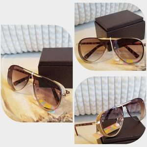 MIRROR SUNGLASSES WOMEN GOLDEN FEMALE METAL FRAME